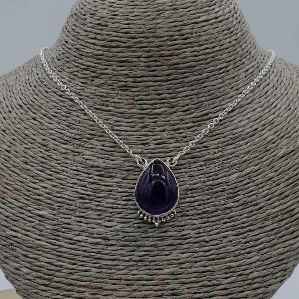 925 Sterling Silber Ohrringe mit tropfenförmigen Amethyst-Anhänger