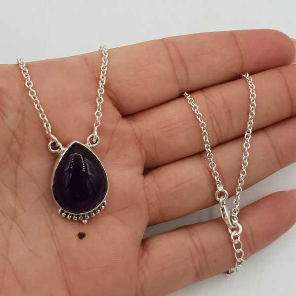 925 Sterling silver earrings with teardrop Amethyst pendant