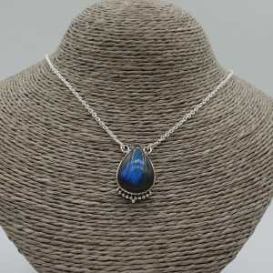 925 Sterling silver chain necklace with a teardrop shaped Labradorite pendant