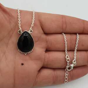 925 Sterling Silber Kette Halskette mit einem tropfenförmigen schwarzen Onyx-Anhänger
