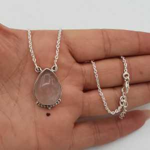 925 Sterling silver necklace with teardrop rose quartz pendant