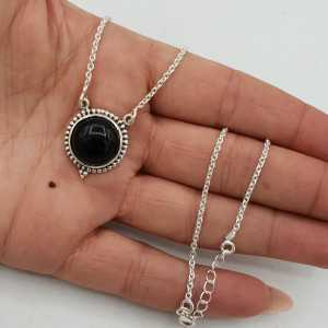925 Sterling Silber Ohrringe mit Runden schwarzen Onyx-Anhänger
