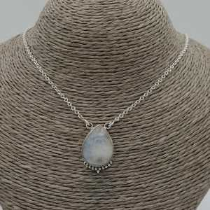 925 Sterling silver necklace with drop-shaped Moonstone pendant