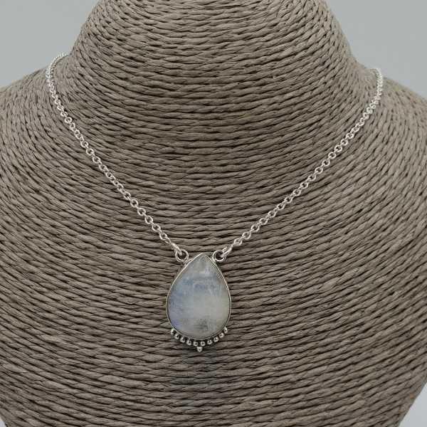 925 Sterling Silber Halskette mit tropfenförmigen Mondstein-Anhänger