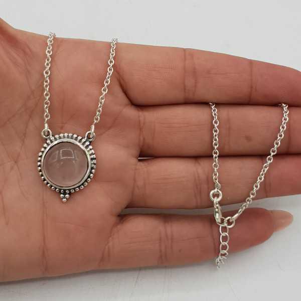 925 Sterling Silber Halskette mit Runden Rosenquarz-Anhänger