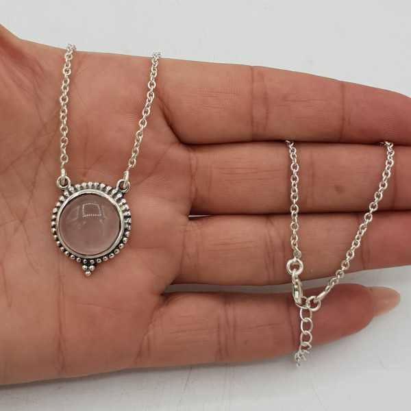 925 Sterling silver necklace with round rose quartz pendant