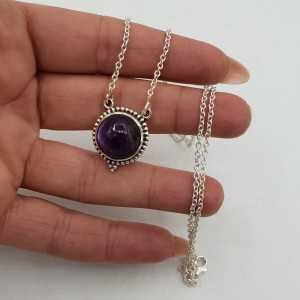 925 Sterling silver necklace with round Amethyst pendant