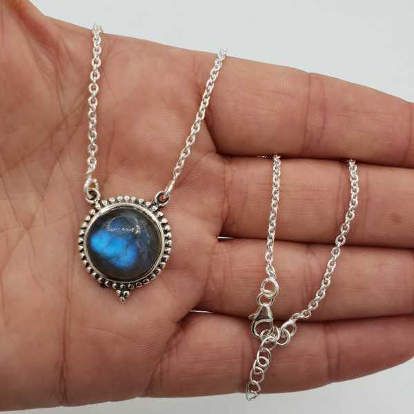 925 Sterling Silber Halskette mit Runden Labradorit-Anhänger