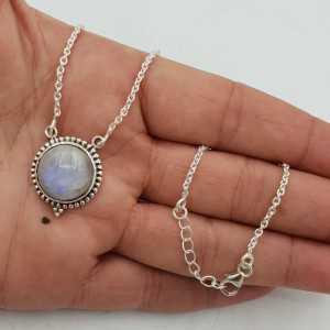 925 Sterling Silber Kette Halskette mit einem Runden Mondstein-Anhänger