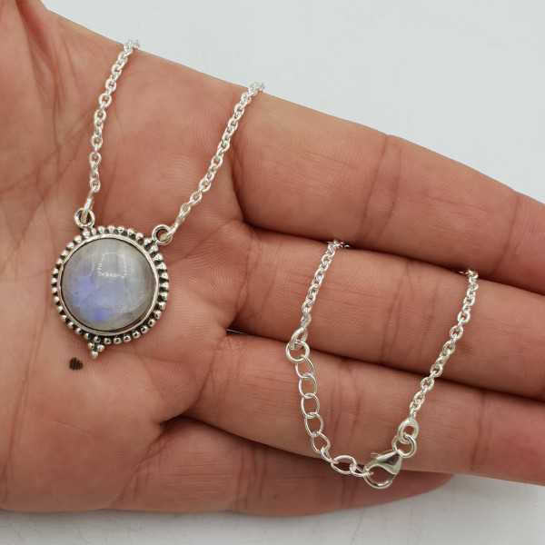 925 Sterling silver chain necklace with a round Moonstone pendant