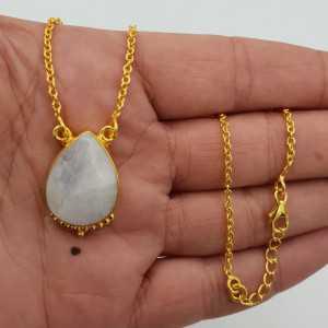 Vergoldete Halskette mit tropfenförmigen Mondstein-Anhänger
