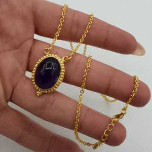 Gold-plated necklace with an oval Amethyst as a pendant