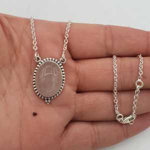 925 Sterling zilveren ketting met ovale Rozenkwarts hanger