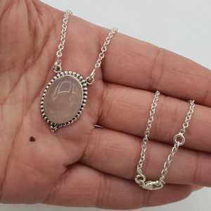 925 Sterling Silber Halskette mit ovalen Rosenquarz-Anhänger