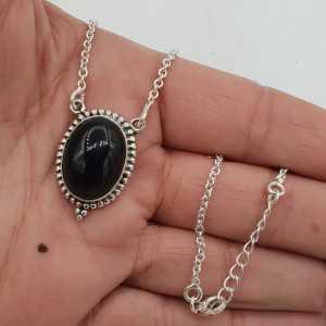 925 Sterling zilveren ketting met ovale zwarte Onyx hanger