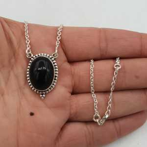 925 Sterling Silber Kette mit einem ovalen schwarzen Onyx-Anhänger
