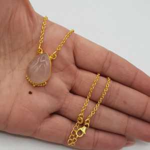 Vergoldete Halskette mit tropfenförmigem Rosenquarz-Anhänger