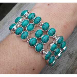 Zilveren armband gezet met Tibetaanse Turkoois