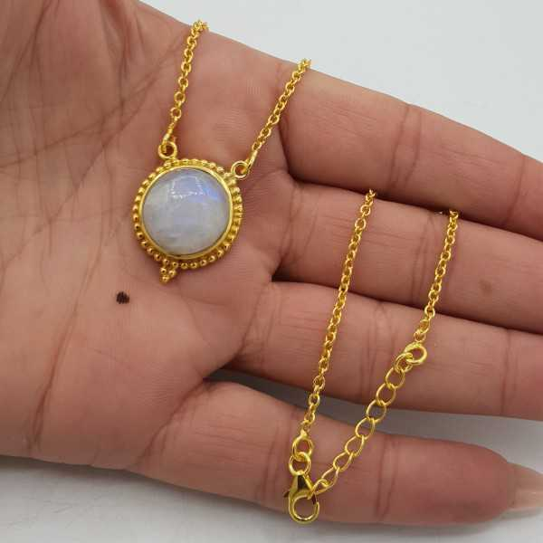 Gold-plated necklace with a round Moonstone pendant