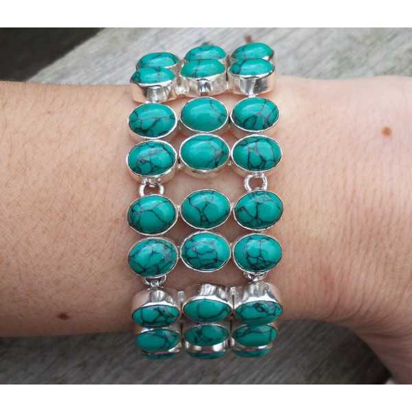 Silver bracelet set with Tibetan Turquoise