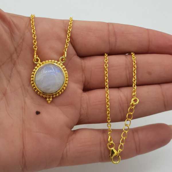 Vergoldete Halskette mit einem Runden Mondstein-Anhänger