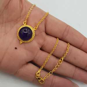 Gold plated necklace with round Amethyst pendant