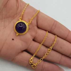 Goud vergulde ketting met ronde Amethist hanger