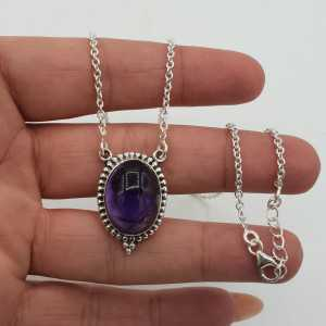 925 Sterling silver necklace and oval Amethyst pendant