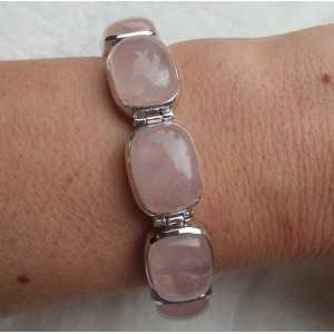 Zilveren armband met rechthoekige Rozenkwarts schakels