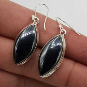 Zilveren oorbellen met marquise Hematiet