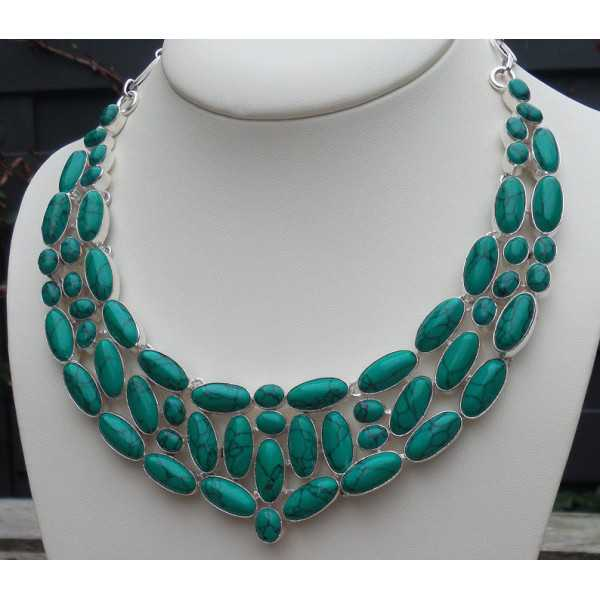 Silver necklace set with Tibetan Turquoise