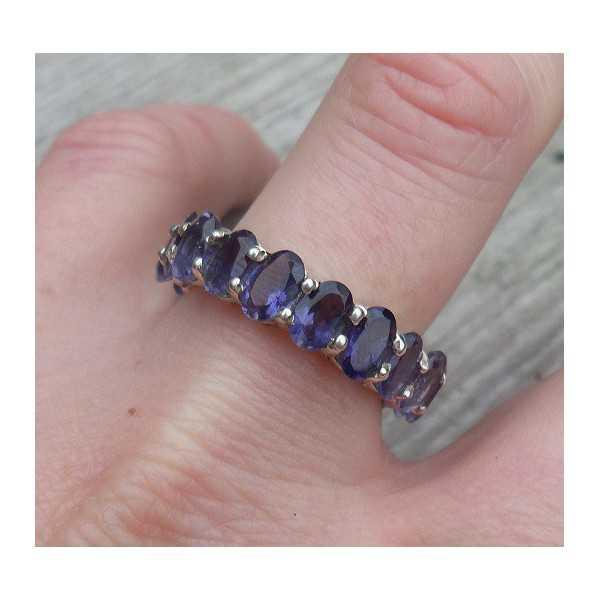 Silber ring mit rund-set mit Facette Ioliet 18 mm