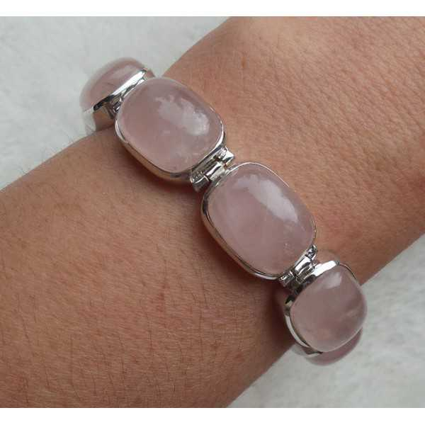 Silver bracelet with rectangular rose quartz links
