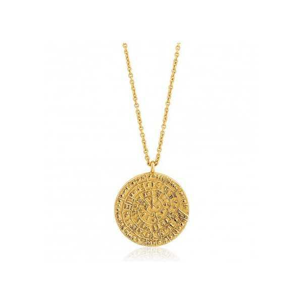 Goud vermeil ketting met munt hanger