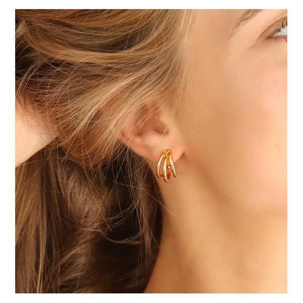 Goud vergulde triple hoop oorbellen