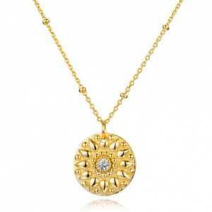 Goud vermeil ketting met hanger gezet met Zirkonia