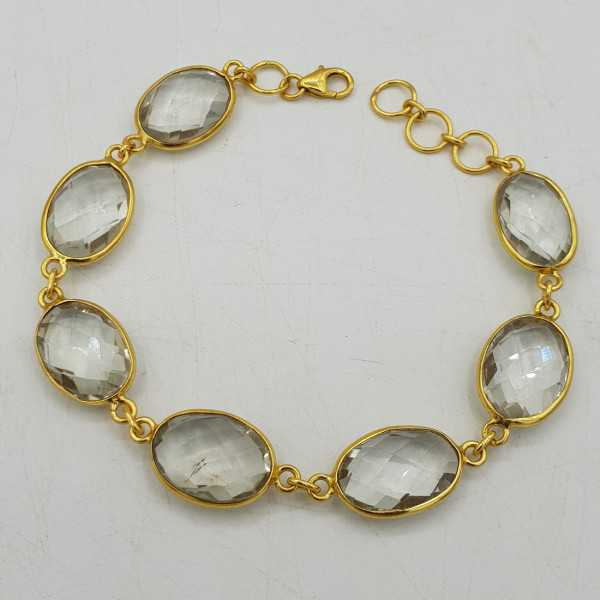 Gold-plated bracelet with green Amethyst