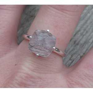 Silber ring mit einem eckigen Facetten-Toermalijnkwarts 18 mm