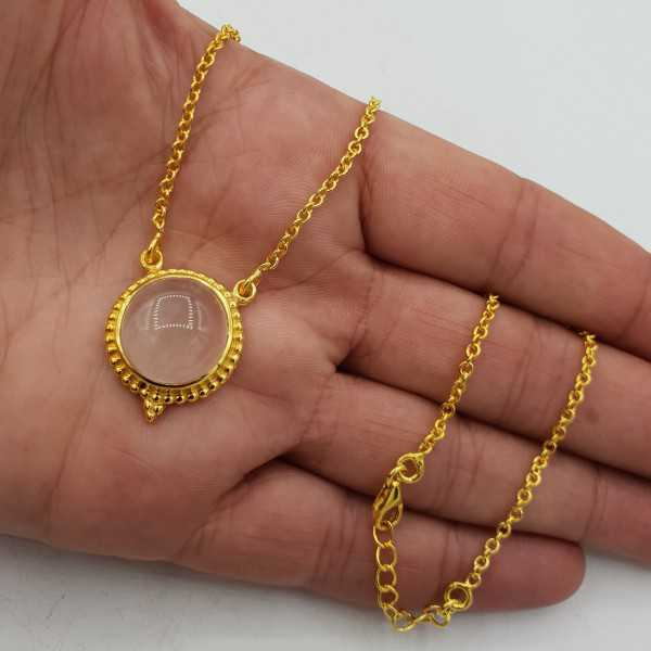 Gold plated necklace with circular rose quartz pendant