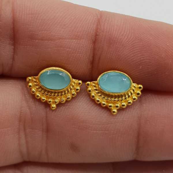 Gold-plated oorknoppen mit einer traverse Ovale Form, aqua Chalcedon