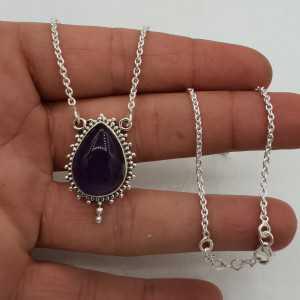 925 Sterling Silber Halskette mit Amethyst-Anhänger