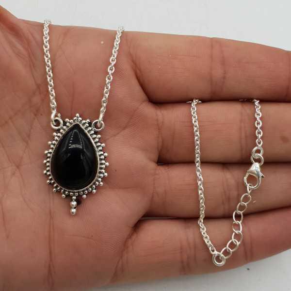 Halskette des Sterlingsilber-925 mit schwarzem Onyx-Anhänger