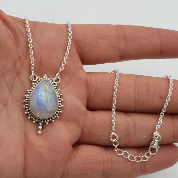 925 Sterling Silber Kette Halskette mit Mondstein Anhänger