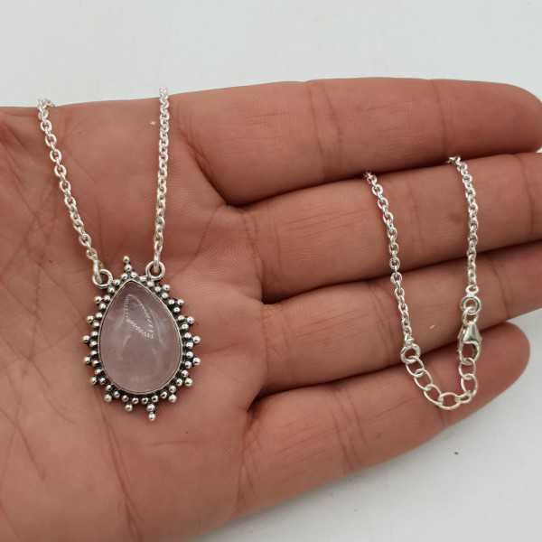 925 Sterling Silber Halskette mit Rosenquarz-Anhänger
