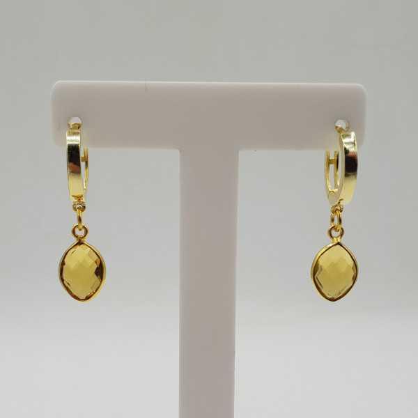 Goud vergulde creolen met Citrien quartz hanger