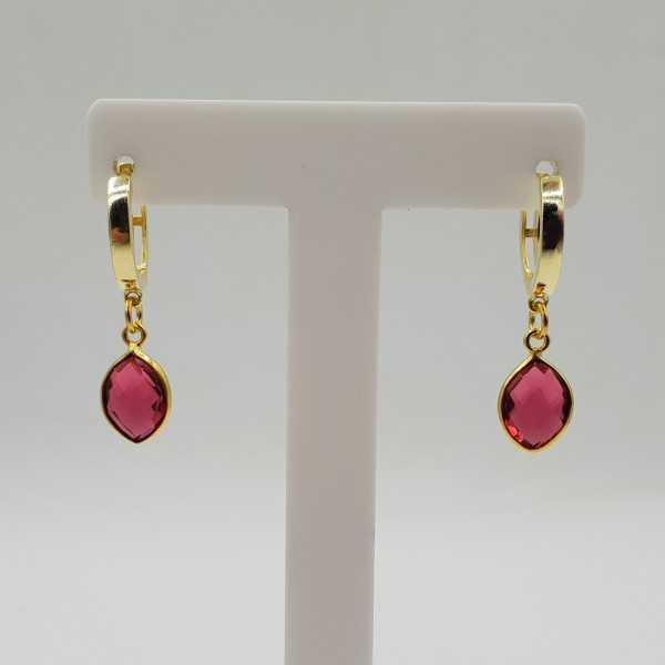 Goud vergulde creolen met roze Toermalijn quartz hanger
