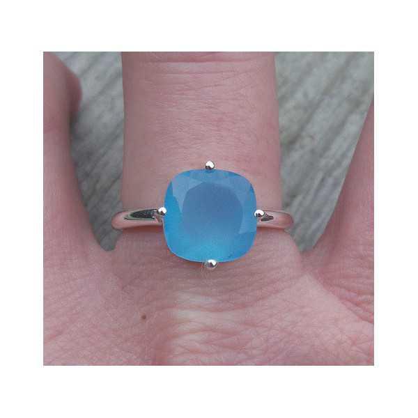 Silber ring mit quadratischen blauen Chalcedon 18 mm
