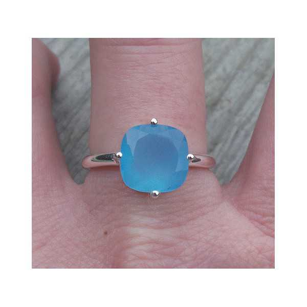 Silver ring with square blue Chalcedony 18 mm