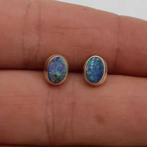 925 Sterling zilveren oorknopjes Doublet Opaal