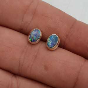 925 Sterling Silber oorknopjes Dublett Opal